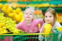Deux petites soeurs faisant des emplettes dans un magasin de nourriture Photo stock