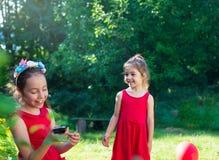 Deux petites soeurs mignonnes heureuses aiment et étreignent dans le beau jardin Images libres de droits