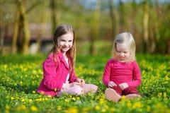Deux petites soeurs mignonnes sur le gisement de fleur de floraison Photos libres de droits