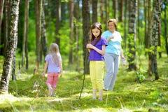 Deux petites soeurs mignonnes trimardant dans une forêt avec leur grand-mère le beau jour d'été Images libres de droits