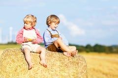 Deux petits amis et amis s'asseyant sur la pile de foin Photos libres de droits