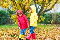 Deux petits automnes de garçons de meilleurs amis et d'enfants se garent dans des vêtements colorés Photographie stock libre de droits