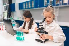 Deux petits enfants dans le laboratoire enduisent apprendre la chimie dans le laboratoire d'école Jeunes scientifiques dans la fa images stock