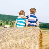 Deux petits enfants et amis avec la pile ou la balle de foin Images libres de droits
