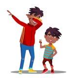 Deux petits garçons afro-américains avec des Dreadlocks dansant au vecteur de musique Illustration d'isolement illustration stock