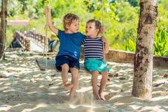 Deux petits garçons blonds ayant l'amusement sur l'oscillation sur le s tropical Images libres de droits