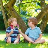 Deux petits garçons d'enfant de mêmes parents mangeant la crème glacée rouge dans le jardin de la maison Image stock