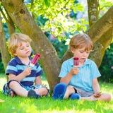Deux petits garçons d'enfant de mêmes parents mangeant la crème glacée rouge dans le jardin de la maison Photos stock