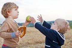 Deux petits garçons d'enfant en bas âge jouant sur le gisement de paille Image stock