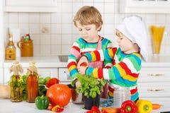 Deux petits garçons drôles faisant cuire la soupe et le repas italiens avec v frais Photographie stock libre de droits
