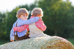 Deux petits garçons et amis d'enfant de mêmes parents s'asseyant sur la pile de foin Photo stock