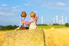 Deux petits garçons et amis jumeaux s'asseyant sur la pile de foin Photo stock