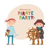 Deux petits garçons habillés comme marins, pirates avec l'espace pour le texte illustration de vecteur