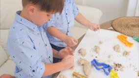 Deux petits garçons mignons jouant avec la pâte et apprenant comment faire cuire au four Image stock