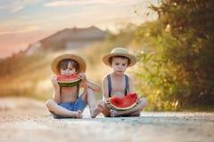 Deux petits garçons mignons, mangeant la pastèque sur un chemin de village rural Images stock