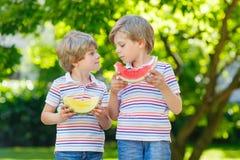 Deux petits garçons préscolaires d'enfant mangeant la pastèque en été Photo libre de droits