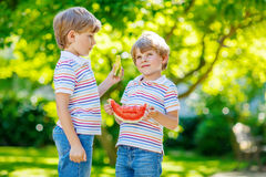 Deux petits garçons préscolaires d'enfant mangeant la pastèque en été Photos stock