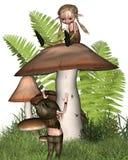Deux petits lutins jouant sur un champignon de couche Image stock
