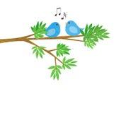 Deux petits oiseaux sur une branche d'arbre illustration de vecteur