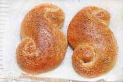 Deux petits pains de pain de sésame sur le papier de cuisson, faisant cuire Image libre de droits