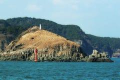 Deux phares sur une île en Corée Photos libres de droits