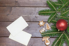 Deux photos de vintage avec des symboles de Noël Image libre de droits