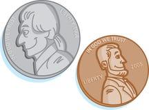 Deux pièces de monnaie Photographie stock