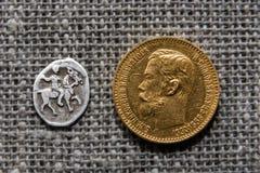 Deux pièces de monnaie russes Image stock
