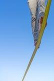 Deux pieds et jambes sur le lâche-line attachent du ruban adhésif à la haute en air contre la SK bleue Photographie stock