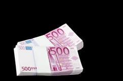 Deux piles de 500 euro billets de banque Photos stock