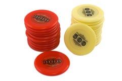 Deux piles de puces de casino Photos stock