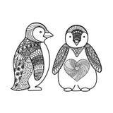 Deux pingouins gribouillent la conception pour livre de coloriage pour l'adulte, la conception de T-shirt et d'autres décorations Photographie stock libre de droits