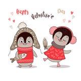 Deux pingouins mignons amoureux Image libre de droits