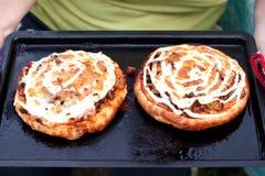 Deux pizzas de champignon de couche Photo libre de droits