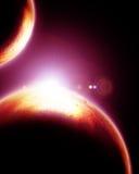 Deux planètes étrangères Image libre de droits