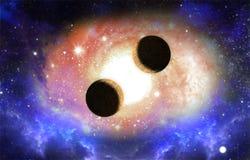 Deux planètes avec la galaxie et l'effet de la lumière Photographie stock libre de droits