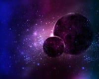 Deux planètes dans l'étoile de l'espace de ciel nocturne Image stock