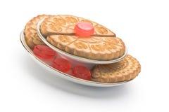 Deux plaques de biscuits et d'une certaine sucrerie image libre de droits