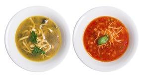 Deux plats de soupe image stock