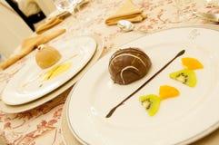 Deux plats de souris de chocolat et de vanille Image libre de droits