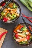 Deux plats orientaux avec le poulet, le brocoli, le poivron rouge et les nouilles de riz Remuez et faites frire le plat sur le fo photographie stock libre de droits