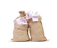 Deux pleins sacs avec d'euro billets de banque photo stock