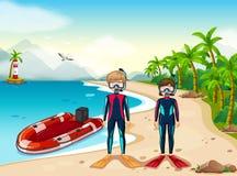 Deux plongeurs autonomes et bateaux en mer Photographie stock