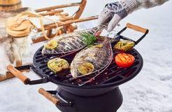 Deux poissons entiers grillant au-dessus d'un barbecue d'hiver Photos stock