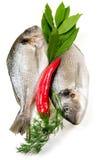 Deux poissons frais et légumes. photographie stock libre de droits