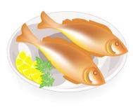 Deux poissons frits d'un plat Nourriture savoureuse et nutritive Prochains citron et persil Appropri? au petit d?jeuner, au d?jeu illustration libre de droits