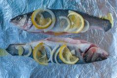 Deux poissons précoupés sur l'aluminium Citron, tranches d'oignon, huile d'olive Maintenant vous devez faire cuire au four dans u photo libre de droits