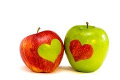 Deux pommes d'amoureux Photos stock