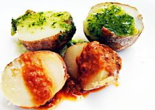 Deux pommes de terre de sauces Photographie stock libre de droits