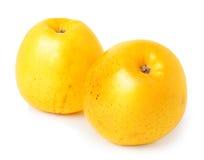 Deux pommes jaunes sur un fond blanc Image stock